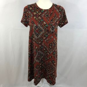 LuLaRoe Rust Aztec Print Carly Dress Size XS